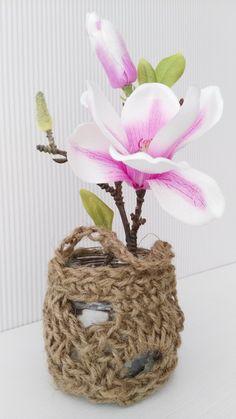 Bote de cristal reciclado para decoración Chunky Crochet, Glass Boat, Canisters, Trapillo, Cases