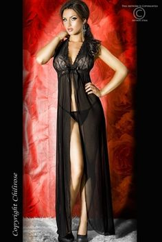 A stunningly beautiful black long gown by Chilirose. The bust is held with embroidered stretch lace, whilst the skirt below flows in smooth chiffon. Sexy Outfits, Long Nightdress, Chiffon, Strings, Stretch Lace, Night Gown, Bikinis, Swimwear, Sexy Lingerie