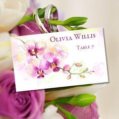 place card escort printable template orchid for tropical beach or hawaiian theme editable worddoc avery 5302 compat you print