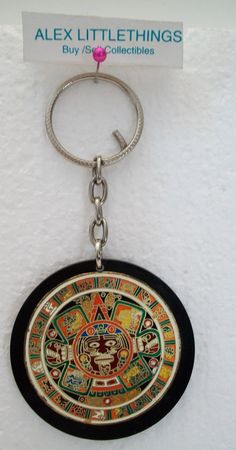 Vintage Aztec Calendar Key Chain Keychain by ALEXLITTLETHINGS