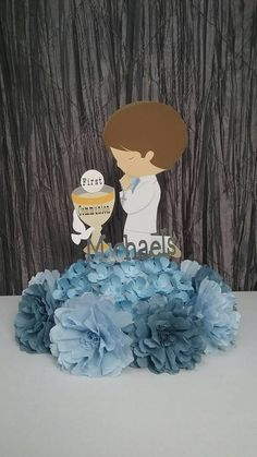 Check out this item in my Etsy shop https://www.etsy.com/listing/271461869/first-communion-centerpiece-boys