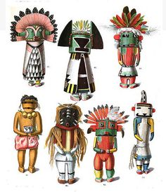Drawings of kachina dolls from an 1894 anthropology book