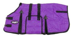 Tough-1 600D Mini Stable Blanket W/Belly Wrap by JT. $56.85. This stable blanket features a 600 denier outer shell with 300 gram poly fill, adjustable elastic leg straps, double buckle snap front closure, belly wrap with elastic straps, cut back neck, deep shoulder with extra gussets for comfort and secure fit, barbwire accent stitching and bar tack stitching on all straps for added strength.
