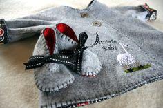 Typewriter keys infant coat -soft grey wool felt- embroidered llama-soft soled baby shoes-blanket stitch $62.00