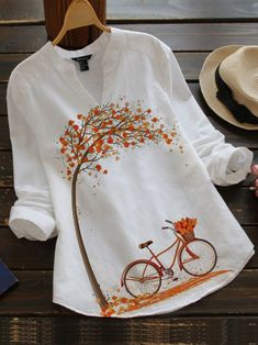 Casual Tops For Women, Blouses For Women, Cool Shirts For Women, Unique Clothes For Women, Vintage Cotton, Vintage Tops, Holiday Blouses, Holiday Tops, Shirt Bluse