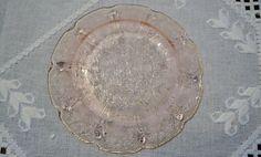 Vintage Pink Glass Dessert Bread Plate Floral Design Depression Glass PanchosPorch