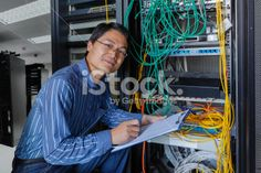Administrator working on a server Royalty Free Stock Photo