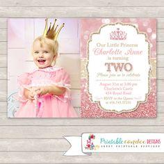 Royal Princess Birthday Invitations Pink and Gold Glitter