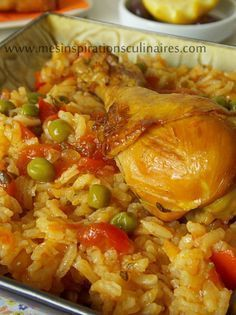 Rice with chicken / Algerian cuisine, Meat Recipes, Healthy Dinner Recipes, Chicken Recipes, Cooking Recipes, Algerian Recipes, Ramadan Recipes, Good Food, Dishes, Ethnic Recipes