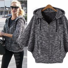 Fashionable Hooded Zippered Dolman Sleeve Cardigan For New Autumn and Winter Europe and America Fashion Women Coat Bat Sleeve Hooded Jacket Loose Casual Outerwear Street JacketsCheap jacket coat patterns, Buy Quality jacket trench coat dire Cardigans For Women, Coats For Women, Clothes For Women, Mode Outfits, Fashion Outfits, Party Outfits, Winter Jackets Women, Mode Hijab, Look Fashion