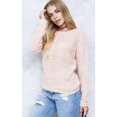 Dirty Little Hearts Erica Peach Spinning Lawn Fluffy  Jumper ($31) ❤ liked on Polyvore featuring tops, sweaters, pink jumper, pink top, peach top, peach sweater and pink sweater