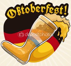 Beer Boot and Sign with Germany Colors for Oktoberfest Celebration, Vector Illustration — Stock Illustration Beer Boot, Celebration, Germany, Stock Photos, Signs, Colors, Illustration, Oktoberfest, Shop Signs