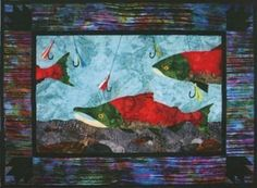Run Reds Run Salmon Fish Fishing Wildfire Designs Alaska Quilt Pattern