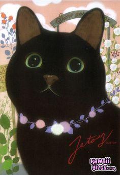 Jetoy Choo Choo Cat Postcard - Cute Black Cat Gamy