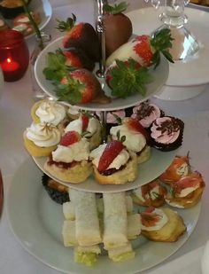 High tea with strawberries
