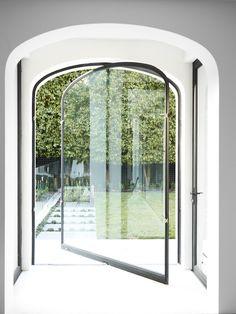 Steel and glass pivot door