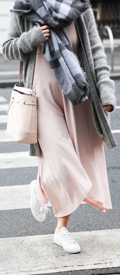 See Want Shop blogger Lisa Hamilton wearing grey Acne Studios mohair cardigan, Furla bucket bag, The Fifth pink dress & scarf | winter fashion