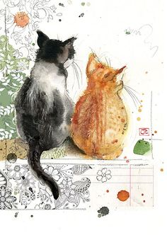 Two Kittens - Bug Art greeting card
