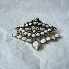 1950's Faceted Milkglass Pin Antiqued Gold by MargsMostlyVintage, $18.00