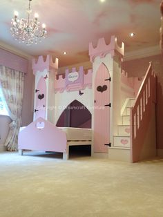 Princess Castle Bed bunk bed girls bed by Dreamcraftfurniture Princess Bunk Beds, Princess Castle Bed, Princess Bedrooms, Princess Room, Disney Princess, Bunk Bed Plans, Kids Bunk Beds, Girl Room, Girls Bedroom