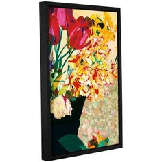 ArtWall Allan Friedlander Les Fleurs Gallery-wrapped Floater-framed Canvas, Size: 16 x 24, Red
