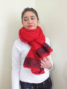 red shawls adorned with lace red shawl / wrap / shrug / by UKLA, $69.90