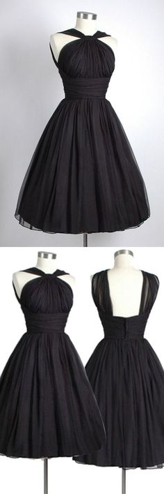 Vintage Knee-Length Sleeveless Open Back Black Homecoming Dress Ruched,133