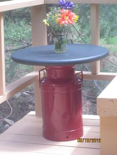 Milkcan Table! Table top is painted with chalk paint and ready for some tic, tac, toe!