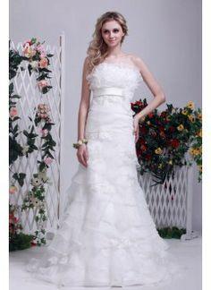 Amazing Sheath Strapless Sweep Train Organza Beach Wedding Dress