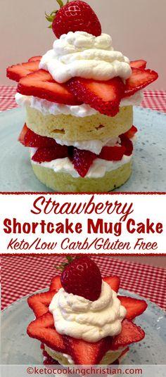 Strawberry Shortcake Mug Cake - Keto, Low Carb & Gluten Free In the mood for som. Strawberry Shortcake Mug Cake - Keto, Low Carb & Gluten Free In th. Low Carb Sweets, Low Carb Desserts, Low Carb Recipes, Ketogenic Recipes, Low Carb Mug Cakes, Keto Mug Cake, Gluten Free Mug Cake, Keto Cookies, Sugar Cookies