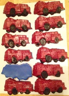 Fire Truck Firetruck Crayons Set of 4, Custom Colors, Recycled Upcycled Birthday Favors, Fireman Birthday, Fireman Present, Firefighter