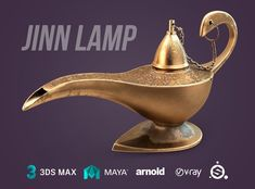 Jinn Lamp by docwitson. Model of the oil lamp. Looks like the one Aladdin has found. There is a rig for the chain and lid. Rig was made in Maya. There are customized versions for Arnold in Maya and under Vray in 3d max. Working project Substance Painter with masks for a convenient replacement of the texture of the drawing. In the additional textures are masks for the current figure on the lamp. In the model only quadrangles, it is well smoothed.   /  You can buy this 3D model for 20$ on…