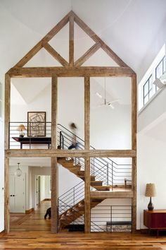 Reclaimed barn wood in a skeletal frame injects rustic style into an otherwise modern Berkshires family home by : - Architecture and Home Decor - Bedroom - Bathroom - Kitchen And Living Room Interior Design Decorating Ideas - Smart Home Design, Style At Home, Barn Living, Living Room, Living Spaces, Wooden Stairs, Metal Stairs, Exposed Beams, Timber Beams