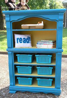 Dresser to Bookshelf... use the twins old dresser and make it calebs new bookshelf