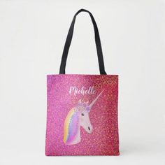 Cute Pink Glitter Unicorn Personalized Name Tote Bag m m back to school, art ideas for school, back to school teacher gifts #backtoschoolnails #backtoschoolready #backtoschoolthis, dried orange slices, yule decorations, scandinavian christmas Unicorn Gifts, Cute Unicorn, Unicorn Face, Back To School For Teens, Glitter Birthday Parties, Glitter Girl, Gold Glitter, Sparkles Background, Unicorn Party Supplies