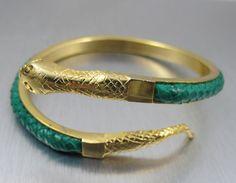Vintage Snake Bracelet Gold Green Leather Snake Skin Coiled Serpent Gold Figural Bracelet