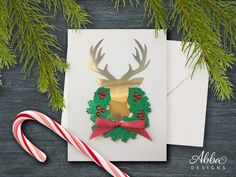 Free Silhouette Design: Deer and Wreath Card