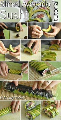 Peas and Crayons: Tips for Flawless Avocado-Wrapped Sushi - now, what to do with it. It looks great, but I don't eat sushi.