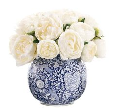 Peony in White Porcelain Orb Blue White