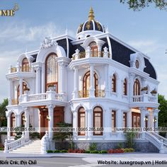 Thiết kế biệt thự tân cổ 2 tầng đẹp BT - 2179 ( Design of beautiful 2-storey neoclassical villa BT ) Villa Design, Neoclassical, Classic House, Exterior, Mansions, Architecture, House Styles, Beautiful, Home