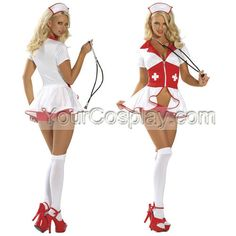 Sexy Red and White Intimate Satin Lycra Sexy Costumes