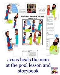 """In our last Sunday School lesson Jesus Jesus met with Zacchaeus and told him """"Get out of that tree."""" Today Jesus has a different message for a man at a pool. Jesus heals the man at the pool lesson Like … Continue reading →"""