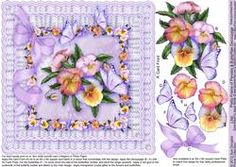 Lilac Pretty Frame Of Pansies And Butterflies - 8in X 8in