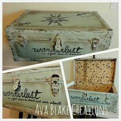 Painted Trunk - Reader Featured Project Vintage Painted Trunk - Reader Featured Project - The Graphics Fairy--for one of my old trunks?Vintage Painted Trunk - Reader Featured Project - The Graphics Fairy--for one of my old trunks? Trunk Redo, Trunk Makeover, Furniture Makeover, Diy Furniture, Furniture Websites, Inexpensive Furniture, Painted Suitcase, Painted Trunk, Painted Furniture