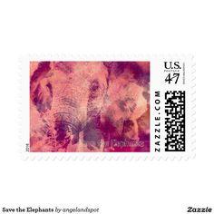 Save the Elephants Postage Stamp
