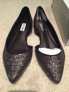 6e5bd18b0eca NIB Steve Madden Elements Flat Womens Size 10 pointy flat slip on Silver    Black