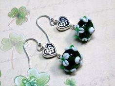 Clover Lampwork Bead Earrings St. Patrick's by HappyEverythingElse