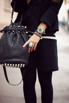 I like the silver studs on the base of this Alexander Wang Diego Bucket Bag, and how it adds an unexpected detail tot he base of the bag, as well as creating texture.