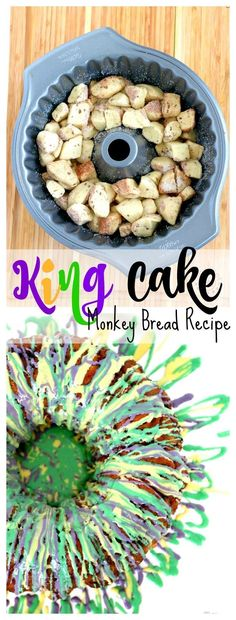 King Cake Monkey Bread : Easy King Cake Recipe that will have you saying MMMM in… - Mardi Gras Easy Cake Recipes, Bread Recipes, Crockpot Recipes, Donut Recipes, Dessert Recipes, Banana Recipes, Party Recipes, Dessert Ideas, Drink Recipes