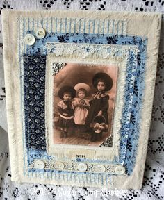 Morning Glory Blue Fabric Collage with sweet vintage image 8 x 10 mounted on canvas